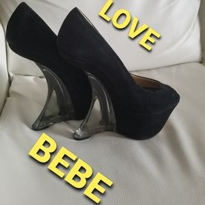 Bebe open toe size 8 platform pumps
